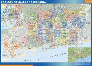 Barcelona códigos postales enmarcado plastificado