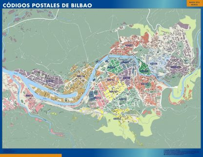 Bilbao códigos postales enmarcado plastificado