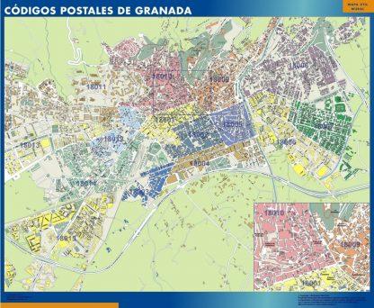 Granada códigos postales enmarcado plastificado