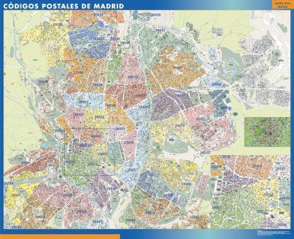 Madrid códigos postales enmarcado plastificado