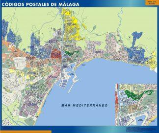 Malaga códigos postales enmarcado plastificado