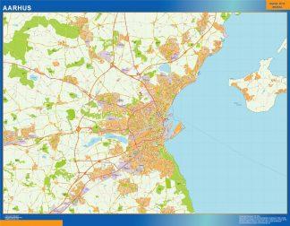 Mapa Aarhus en Dinamarca enmarcado plastificado