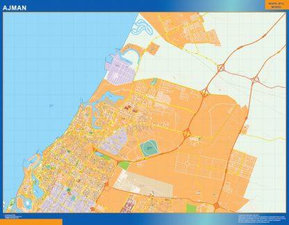 Mapa Ajman enmarcado plastificado