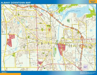 Mapa Albany downtown enmarcado plastificado