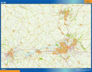 Mapa Albi en Francia enmarcado plastificado
