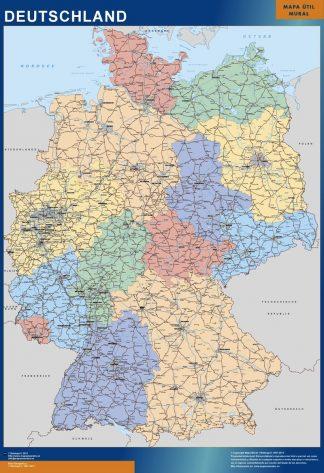 Mapa Alemania enmarcado plastificado