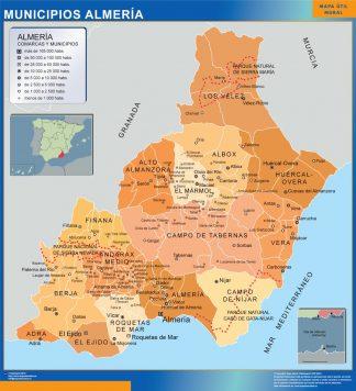 Mapa Almeria por municipios enmarcado plastificado