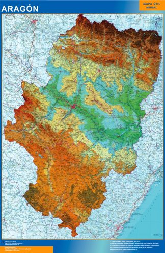 Mapa Aragón físico enmarcado plastificado
