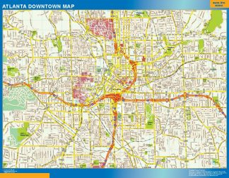 Mapa Atlanta downtown enmarcado plastificado