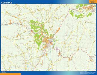 Mapa Aubenas en Francia enmarcado plastificado