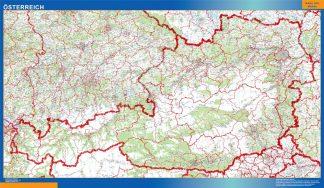 Mapa Austria enmarcado plastificado