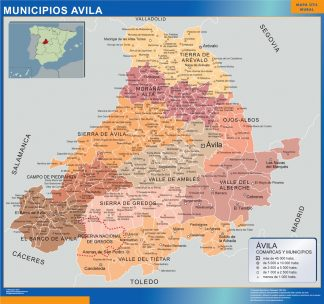 Mapa Avila por municipios enmarcado plastificado