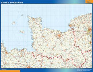 Mapa Baisse Normandie en Francia enmarcado plastificado