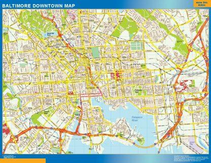 Mapa Baltimore downtown enmarcado plastificado