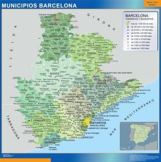 Mapa Barcelona por municipios enmarcado plastificado