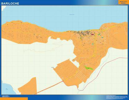 Mapa Bariloche en Argentina enmarcado plastificado