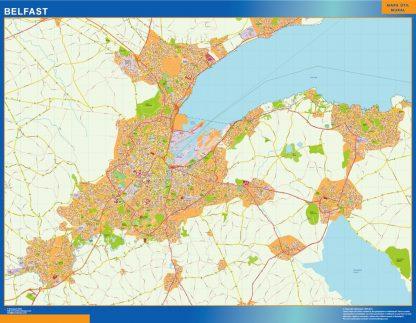 Mapa Belfast enmarcado plastificado
