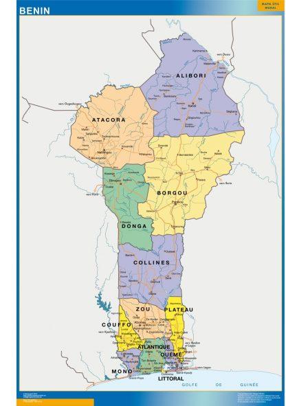 Mapa Benin enmarcado plastificado