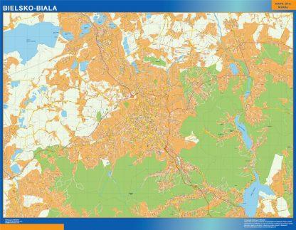 Mapa Bielsko Biala Polonia enmarcado plastificado
