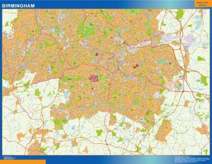 Mapa Birmingham enmarcado plastificado
