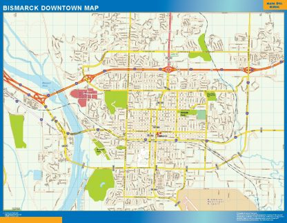 Mapa Bismarck downtown enmarcado plastificado