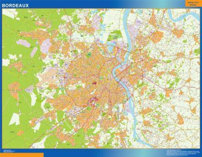 Mapa Bordeaux en Francia enmarcado plastificado