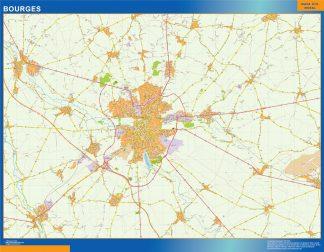 Mapa Bourges en Francia enmarcado plastificado