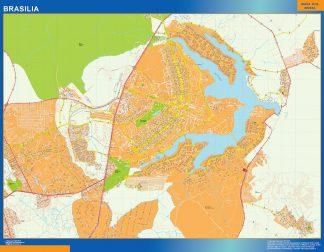 Mapa Brasilia Brasil enmarcado plastificado