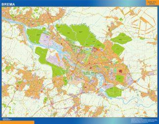 Mapa Brema en Alemania enmarcado plastificado