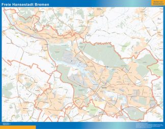 Mapa Bremen enmarcado plastificado