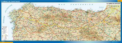 Mapa Camino Santiago enmarcado plastificado