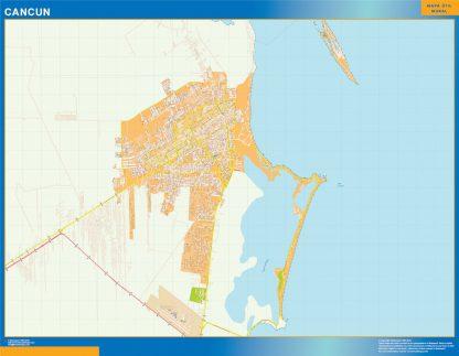 Mapa Cancun en Mexico enmarcado plastificado