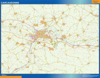 Mapa Carcassonne en Francia enmarcado plastificado
