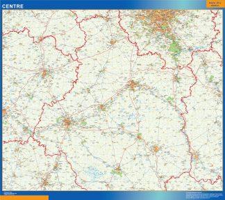 Mapa Centre en Francia enmarcado plastificado
