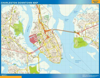 Mapa Charleston downtown enmarcado plastificado