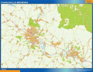 Mapa Charleville Mezieres en Francia enmarcado plastificado