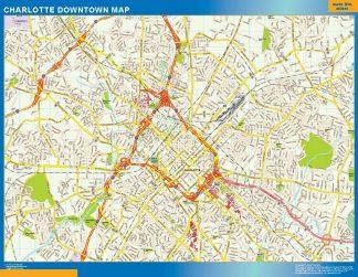 Mapa Charlotte downtown enmarcado plastificado