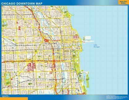 Mapa Chicago downtown enmarcado plastificado