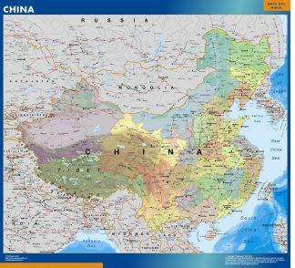 Mapa China enmarcado plastificado