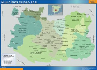 Mapa Ciudad Real por municipios enmarcado plastificado