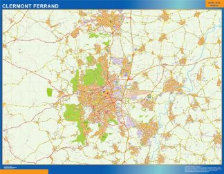Mapa Clermont Ferrand en Francia enmarcado plastificado