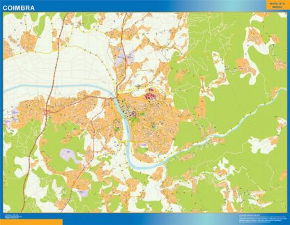 Mapa Coimbra en Portugal enmarcado plastificado