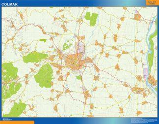 Mapa Colmar en Francia enmarcado plastificado