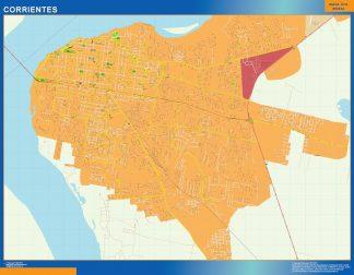 Mapa Corrientes en Argentina enmarcado plastificado