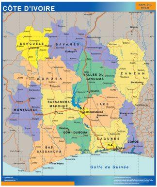 Mapa Costa Marfil enmarcado plastificado