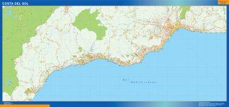 Mapa Costa Sol enmarcado plastificado