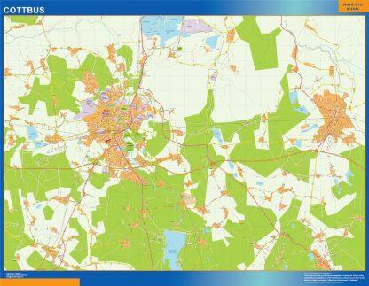 Mapa Cottbus en Alemania enmarcado plastificado