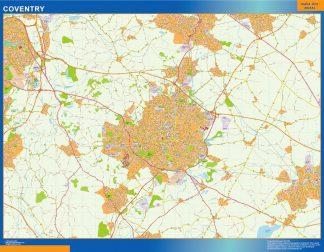 Mapa Coventry enmarcado plastificado