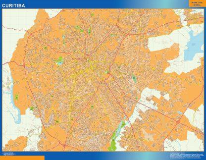 Mapa Curitiba Brasil enmarcado plastificado