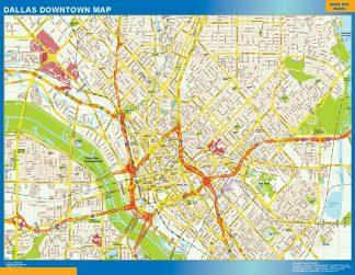 Mapa Dallas downtown enmarcado plastificado